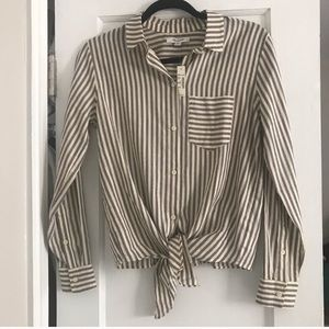 Madewell striped tie front button down top